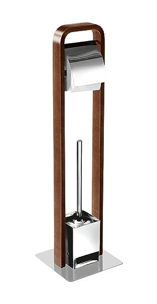 Edelstahl Holz Walnuss WC Garnitur mit Toilettenpapierhalter Papierhalter Bürste