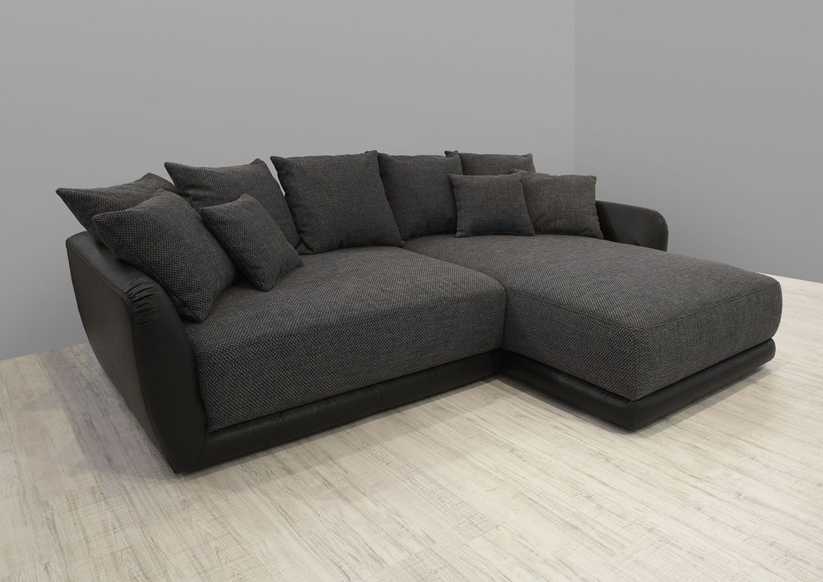 dreams4home polsterecke chios xxl wohnlandschaft big sofa ecksofa couch grau schwarz. Black Bedroom Furniture Sets. Home Design Ideas