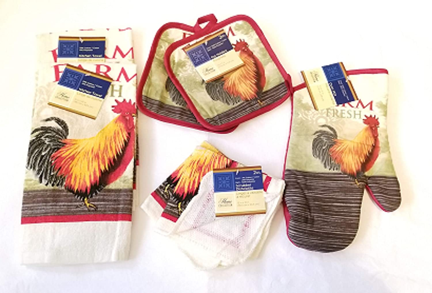 Home Collection Rooster Kitchen Decor ~ 7-Pc Farm Fresh Red Rooster Theme with 2 Towels - 2 Pot Holders - 2 Dish Cloths - 1 Oven Mitt