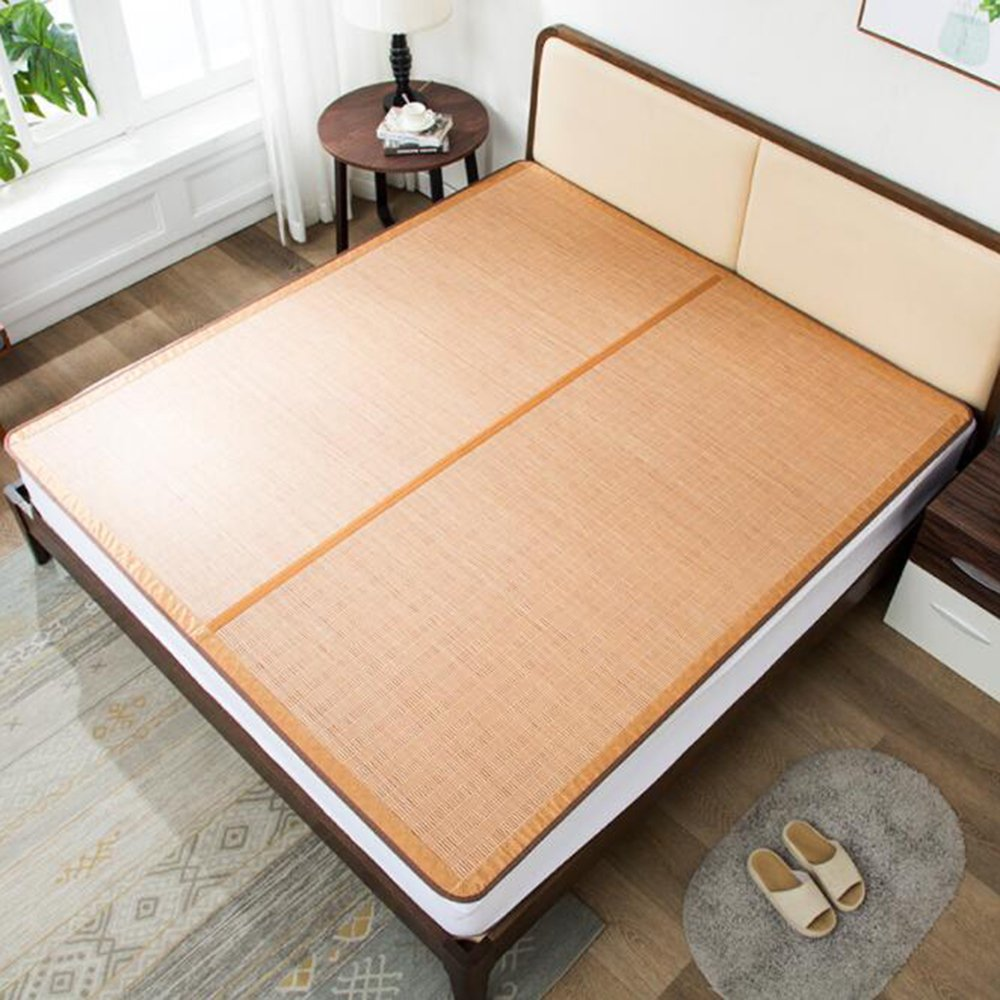 Zzaini Double Sided Summer Sleeping Mat, Folding Topper Pad Rattan Topper Pad-B 180x200cm(71x79inch) by Zzaini (Image #2)