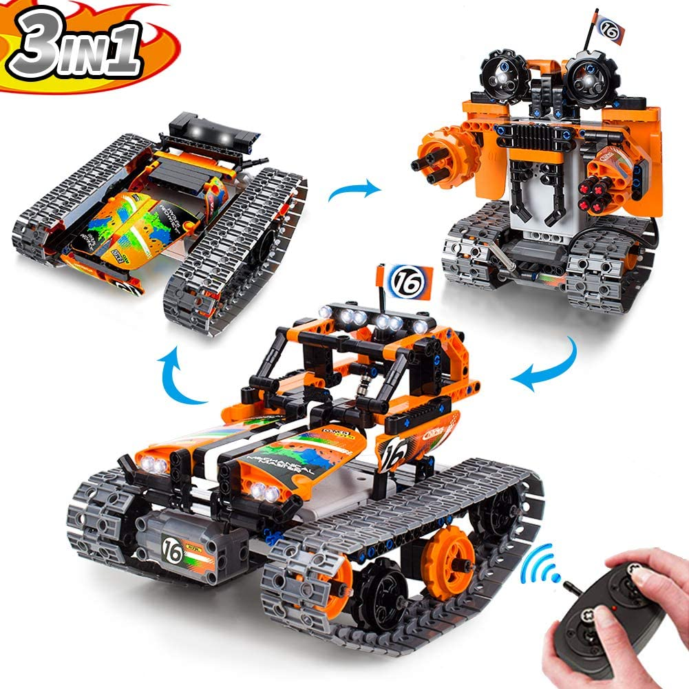 Remote Control Car and Robot Building Blocks, 3 in 1 RC Tracked Racer STEM Educational Learning Kit for Boys & Girls, 2.4Ghz Rechargeable Engineering Toys Gift for Kids Age 8, 9, 10+ Year Old (392pcs)
