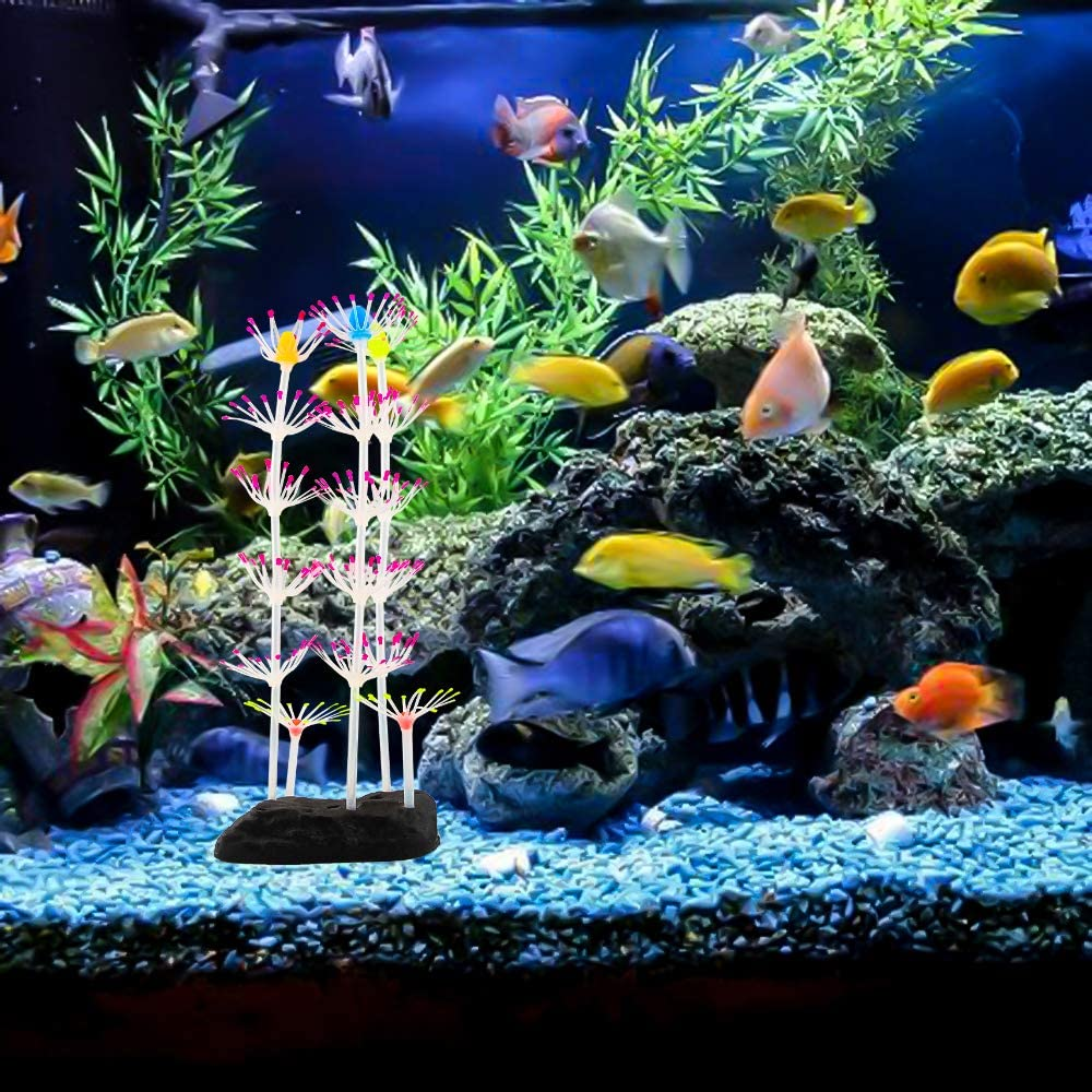 . Pink SENZEAL Artificial Strip Coral Plant Glowing Effect Silicone and Plastics Ornament for Aquarium Fish Tank Decoration
