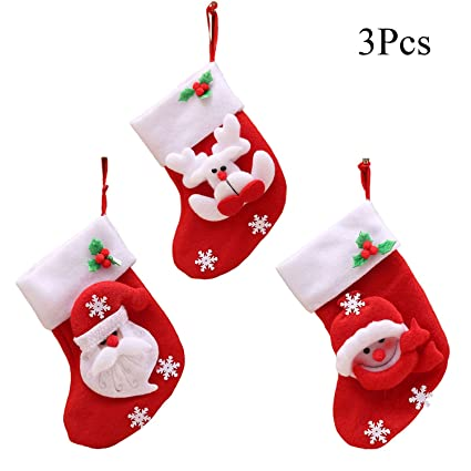 ttvovo 3 style small christmas stockings xmas candy gift bag socks kitchen tableware flatware holders - Small Christmas Stocking Decorations