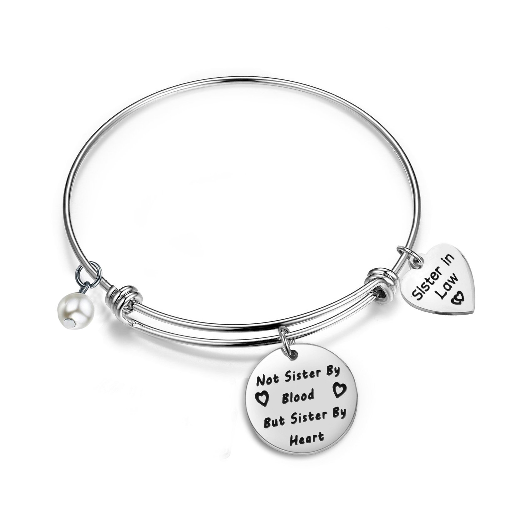 Gzrlyf Sister In Law Bracelet Not Sister By Blood But Sister By Heart Charm Bangle Bracelet Sister Friend Gift … (Sister in law bracelet)