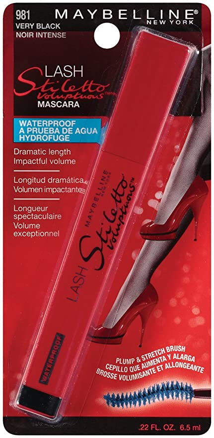Maybelline New York Lash Stiletto Voluptuous Waterproof Mascara, Very Black 981, 0.22 Fluid Ounce