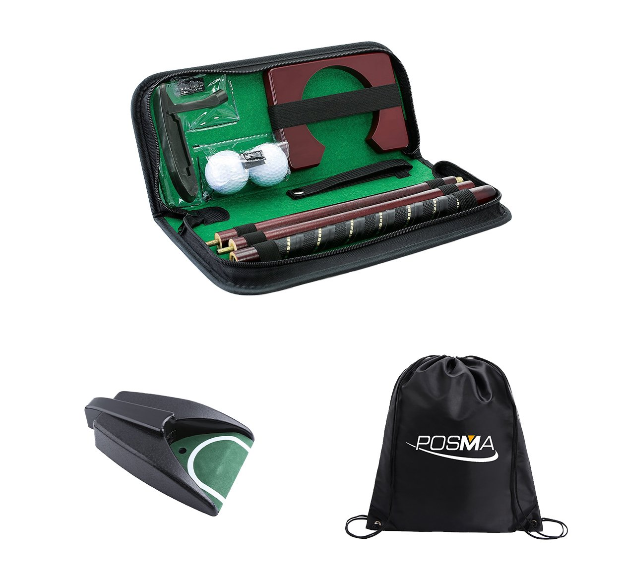 POSMA PG020AD Golf Putter kit set with auto reverse electric putting hole in a golfers carry bag, putter club, 2pcs golf balls - perfect for Indoor outdoor golf putting training practice aid