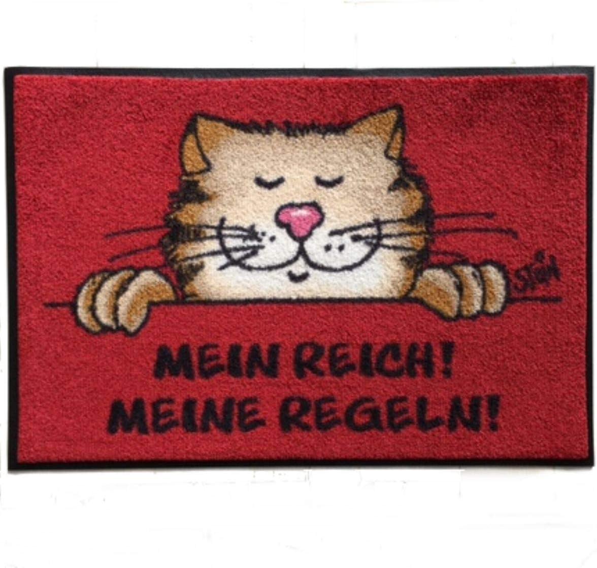AS4HOME Felpudo Lavable© Uli Stein Gato – Mein Reich. Mis Reglas. 40 x 60 cm Wash + Dry: Amazon.es: Juguetes y juegos