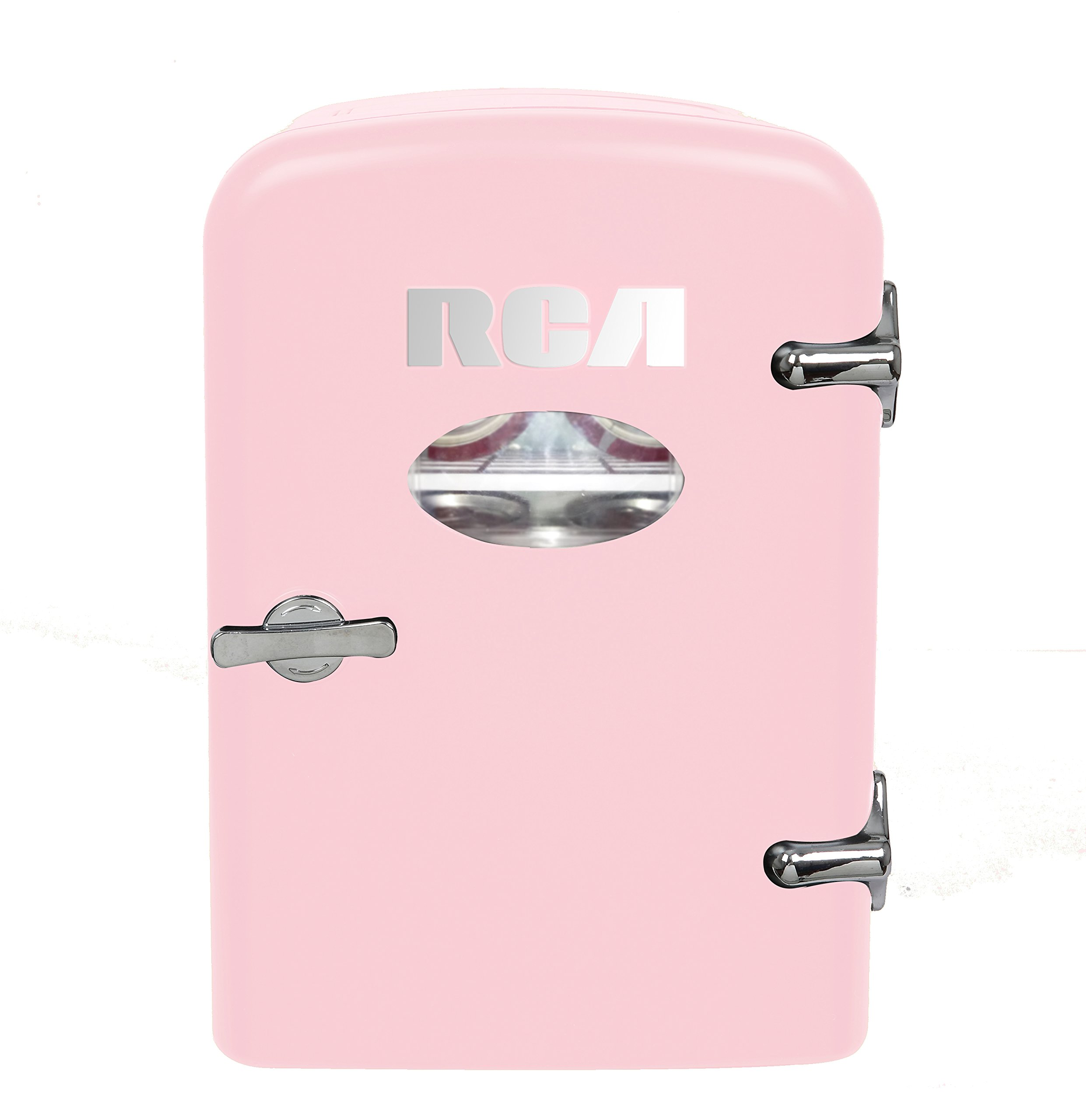 RCA Mini Compact Beverage Refrigerator, Pink, Great for keeping office lunch cool!