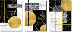 """Modern Canvas Art Painting Nordic Gold Black Geometric Abstract Posters and Prints Pictures Living Room Wall Decor 11.8""""x19.6""""(30x50cm) 3pcs No Frame"""