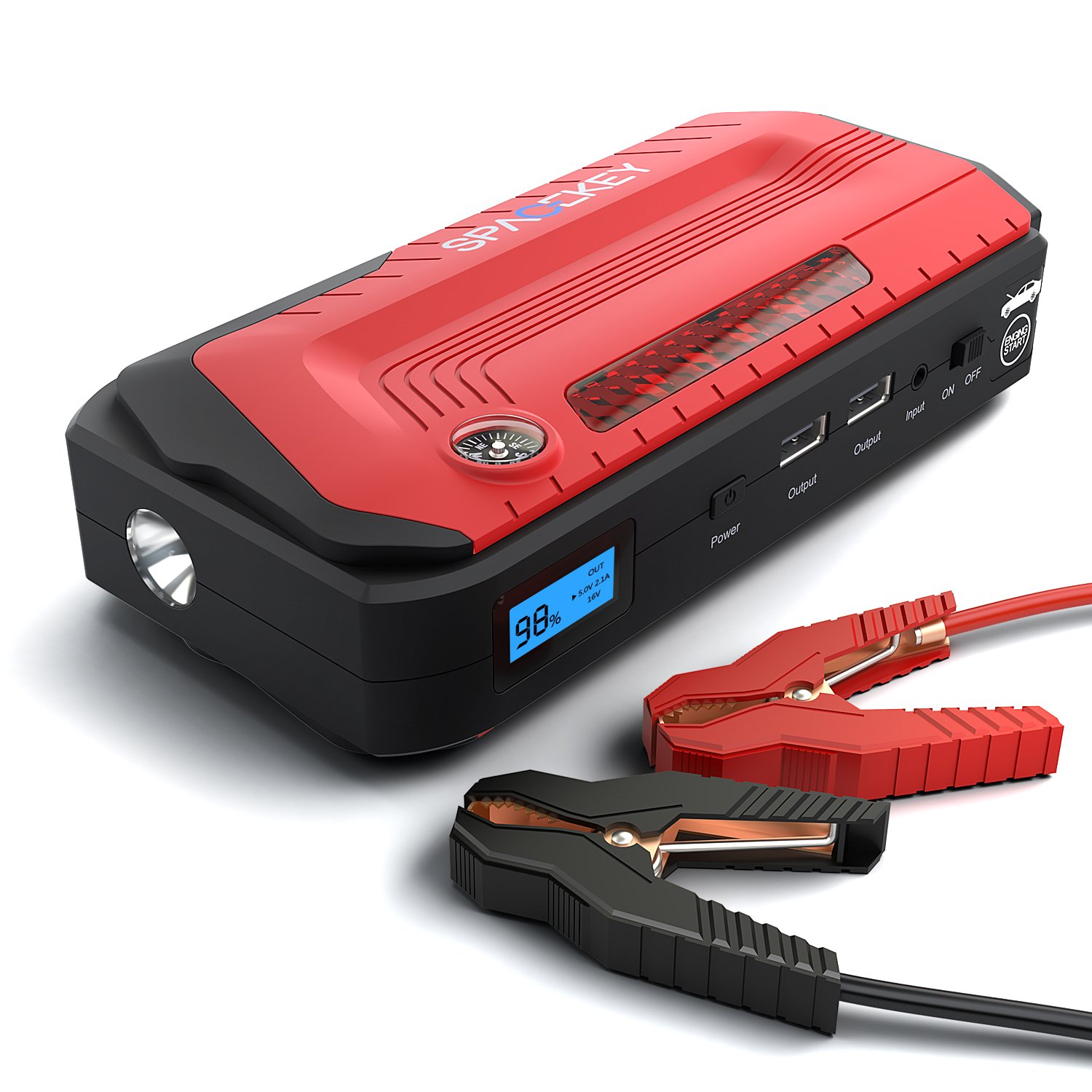 Powerful Jump Starter-1200A Peak (2018 Upgraded) By Spacekey – Portable Car Jump Starter, Auto Battery Pack, Booster Charger With QC3.0 Output And LED Flashlight