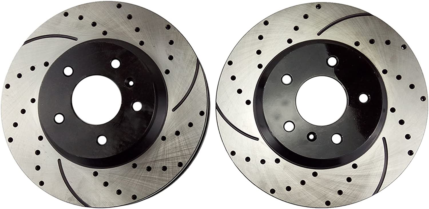 FRONT Mazda CX-9 2007-2010 Brake Rotors POWERSPORT DRILLED SLOTTED