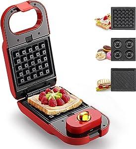 Homeleader Sandwich Maker, Waffle Maker, Donut Maker, 3-in-1 Detachable Non-stick Coating, LED Indicator Lights, Cool Touch Handle, Anti-skid Feet