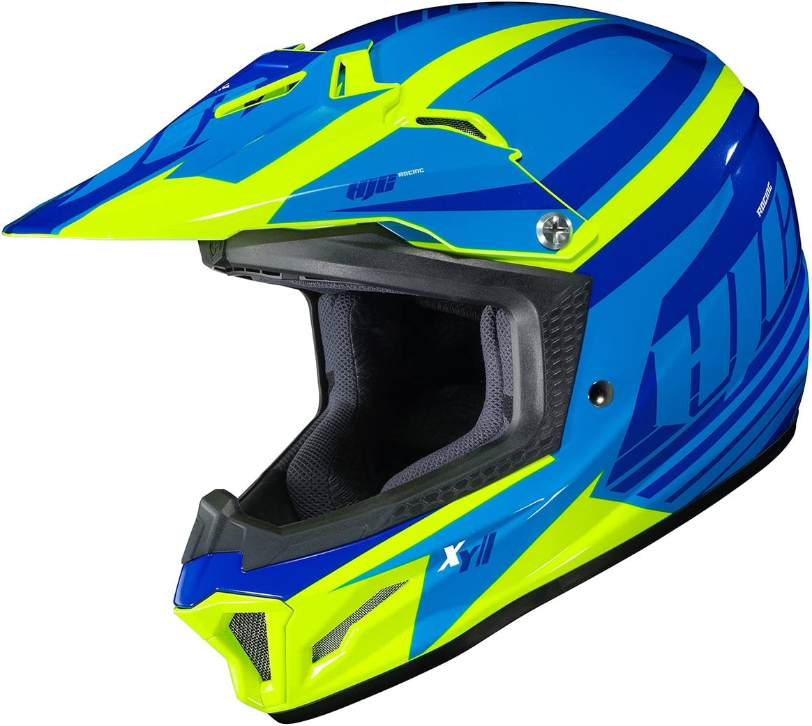 HJC Helmets Unisex-Child Off-Road Style CL-XY II Bator Youth Offroad Helmet Blue//Hi-Viz X-Large 294-935