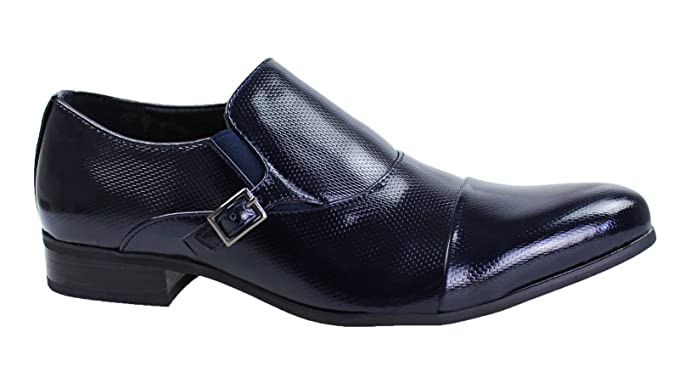 Scarpe uomo linea classica blu class calzature vernice fibbia eleganti  cerimonia  Amazon.it  Abbigliamento 7852bbc4168