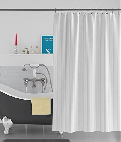 American-Elm Stripe Textured White Anti Bacterial Water-Repellent Shower Curtain, Bathroom Curtains (72 x 96 inch, White)