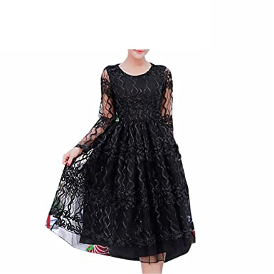 Huaqiang Vintage Black Runway Dress Women New Spring Fashion Sexy Perspective Mesh Embroidery Club Evening Party
