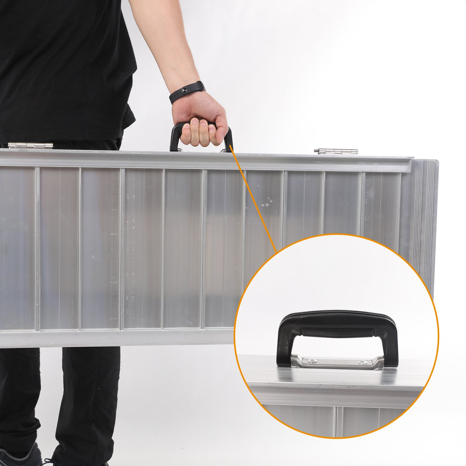 Portable Aluminum Wheelchair Ramp Foldable Separated Mobility Scooter Traction Ramp with Carrying Handle 3 Feet by Hromee (Image #3)