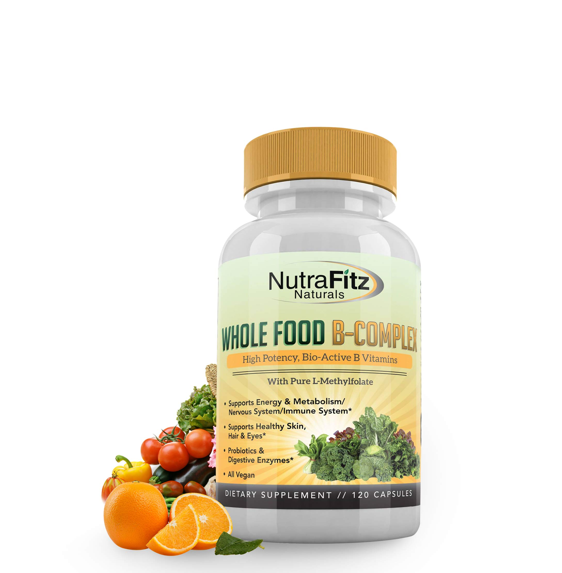 NutraFitz Naturals B Complex Vitamins - B Vitamins Whole Food Supplement, B12 Methylcobalamin, B1, B2, B3, B5, B6, B7, B9 - For Stress, Energy and Immune Support, Vegan, 120 Capsules by NutraFitz Naturals