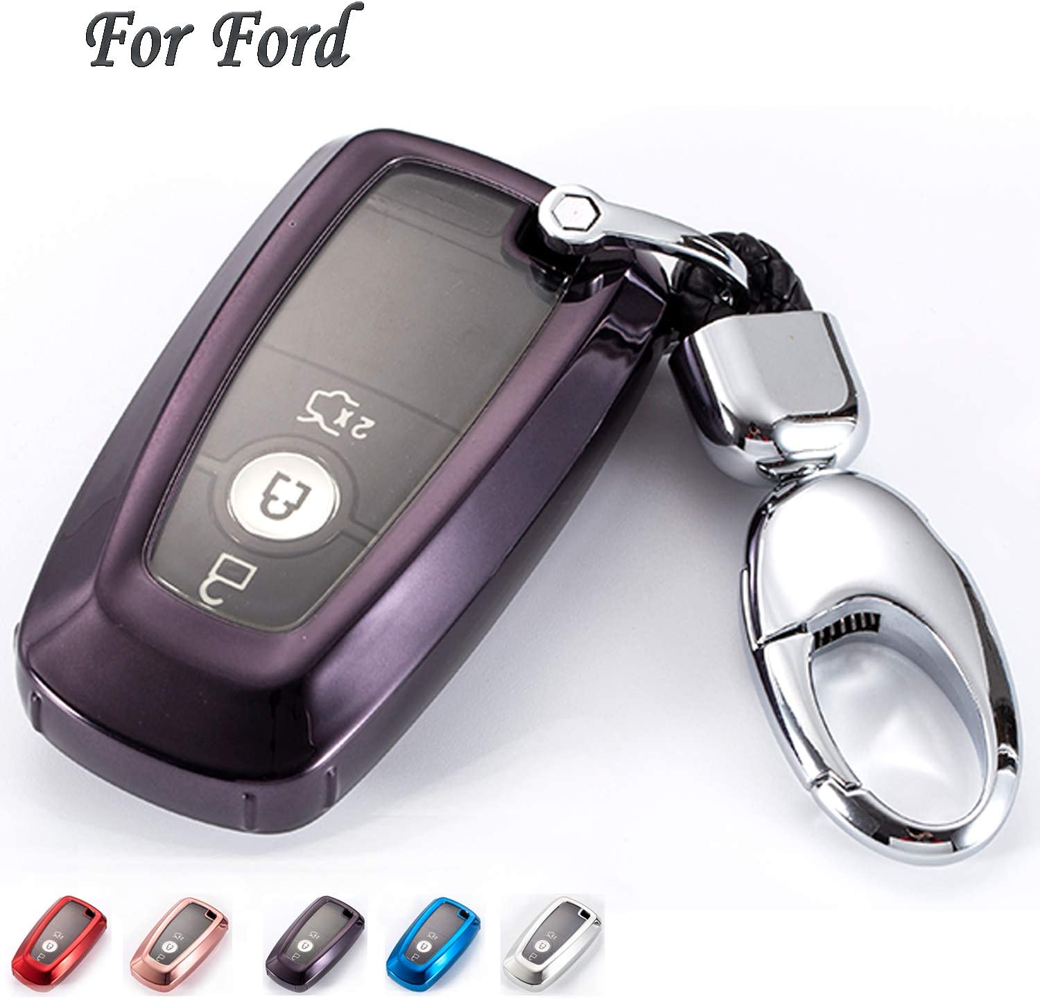 Red K LAKEY Car Key Fob Cover,Fit for Ford Edge 2018-2019 Ford Mondeo 2018-2019,Raptor 2018-2019,Mustang 2018-2019 TPU Protector Key Fob Case Smart Car Remote Holder Car Key Shell with Keychain