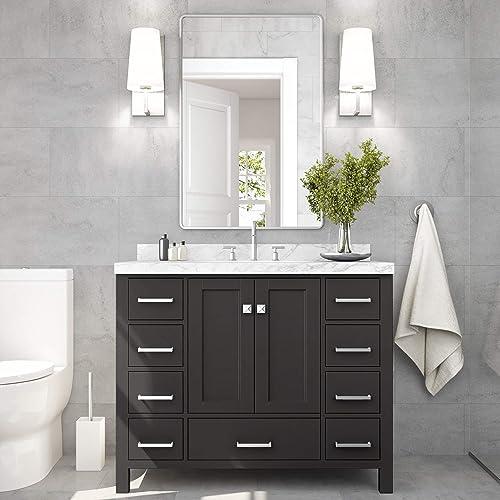 ARIEL 43″ Inch Rectangle Sink Espresso Bathroom Vanity Cabinet