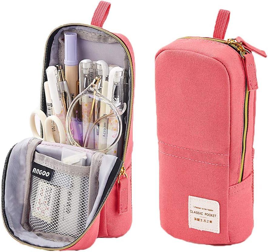 papeler/ía estudiantes oficina 20 x 12 cm organizador cosm/éticos Estuche de gran capacidad para l/ápices bol/ígrafos maquillaje bolsa para ni/ñas para estudiantes color rosa 20x12cm