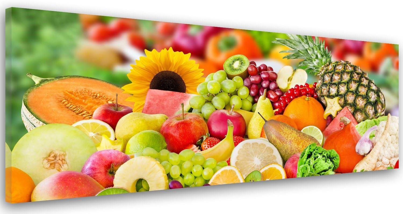 Feeby. Cuadro en Lienzo, Imagen impresión, Pintura decoración, Canvas de una Pieza, 120x40 cm, Fruta, Cocina, Multicolor