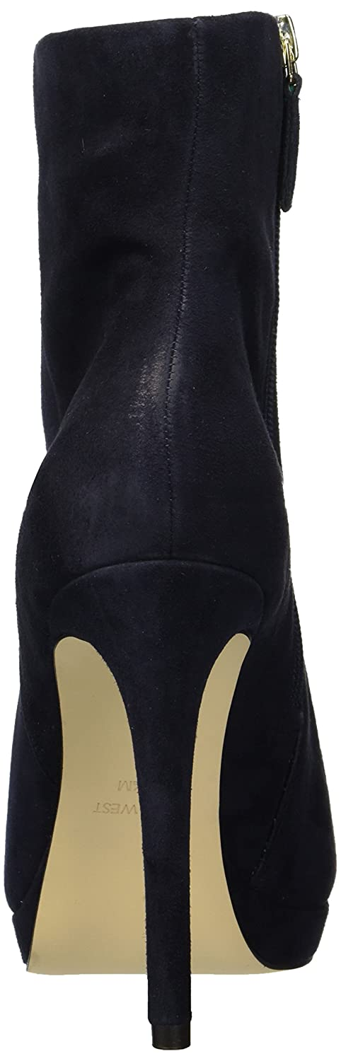 Nine West Women's Quanette Suede Ankle Boot B077W2HTL6 9 B(M) US|Navy