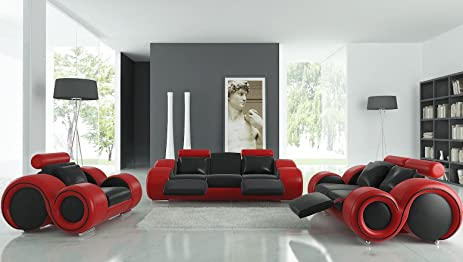 VIG Furniture 4088 Red U0026 Black Leather Sofa Set