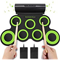Yissvic Elektronische Trommel 7 Pad E-Drum mit Lautsprecher Faltbar Schlagzeug für Kinder Weihnachtsgeschenk Grün (Verpackung MEHRWEG)