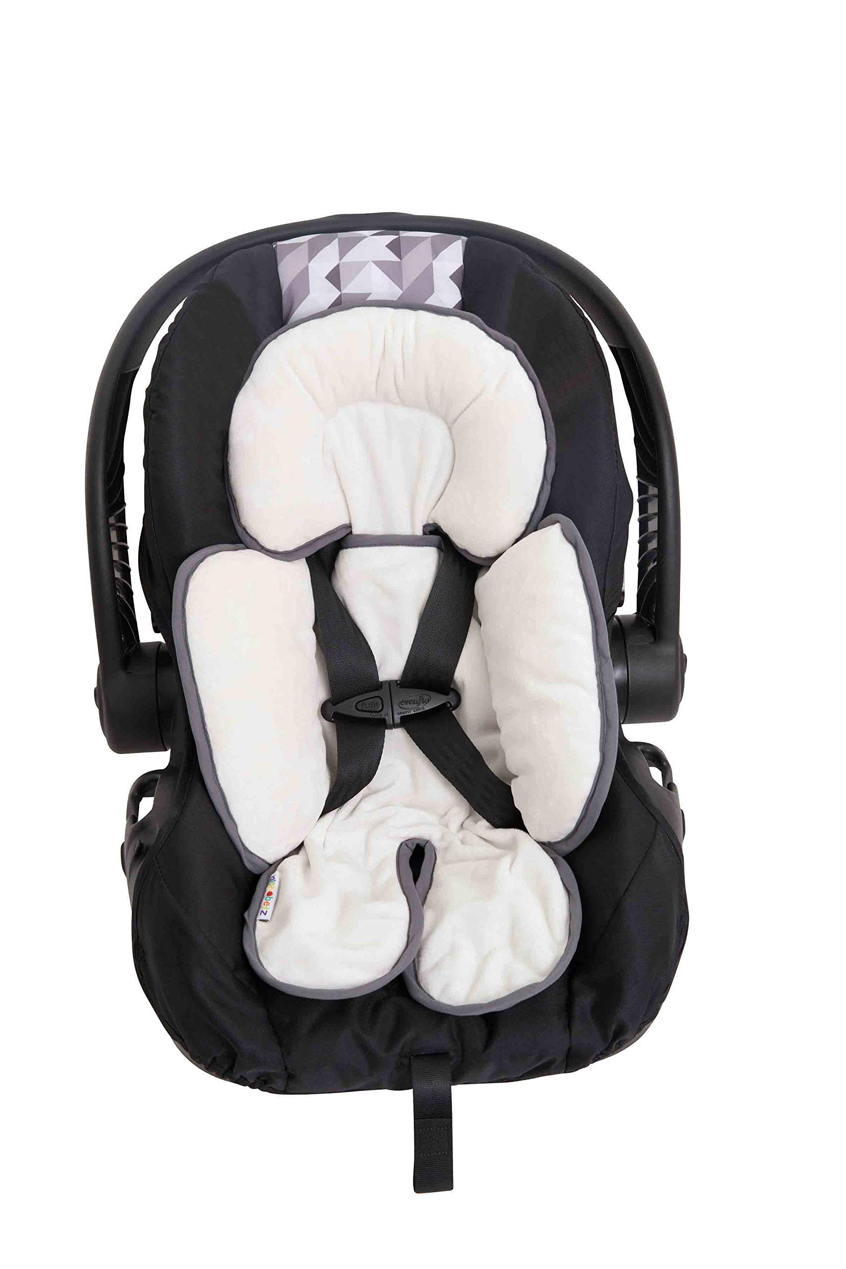 Alphabetz Reversable Head And Body Support Strap Cover Set For Car Seats Strollers White Gray
