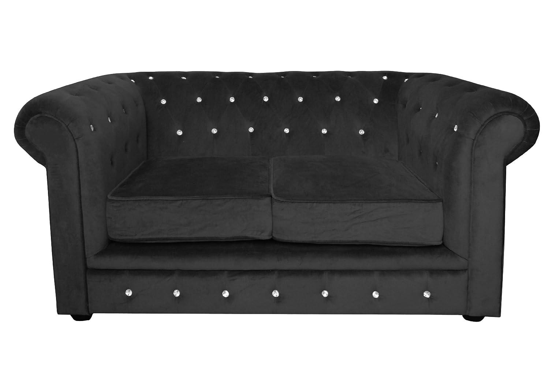 Premier Housewares Sofa Chesterfield, schwarz _ PARENT, Textil, schwarz, Zweisitzer