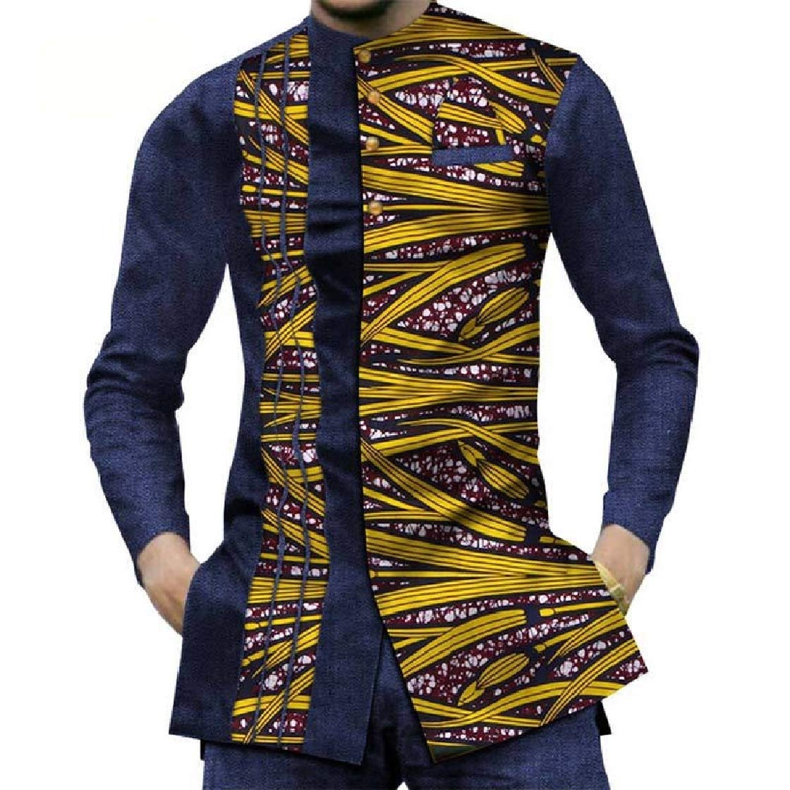 YUNY Men African Style Stand Collar Long Sleeve Patchwork Tops Shirts 6 2XL