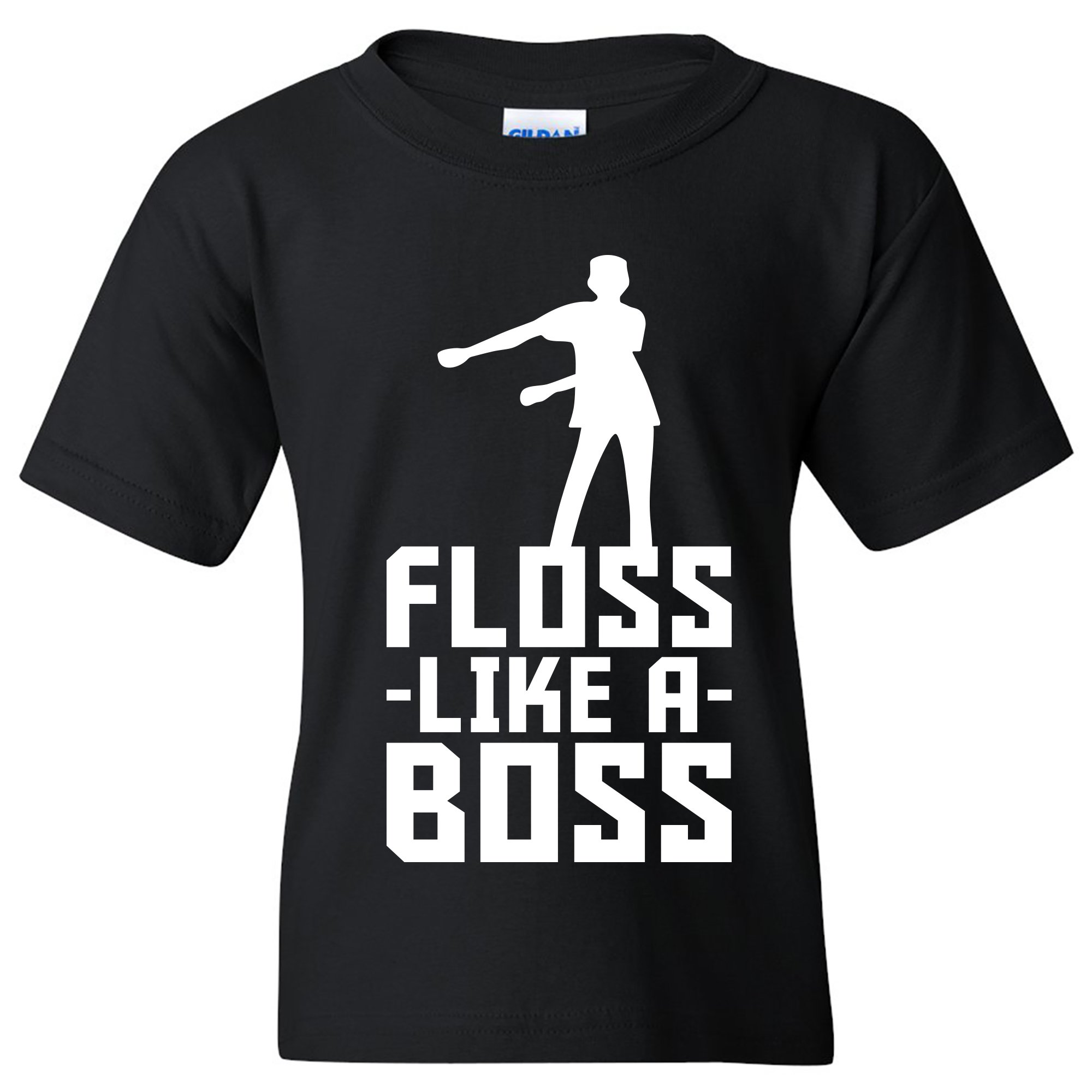 Floss Like A Boss - Back Pack Kid Flossin Dance Funny Emote Youth T Shirt - Medium - Black