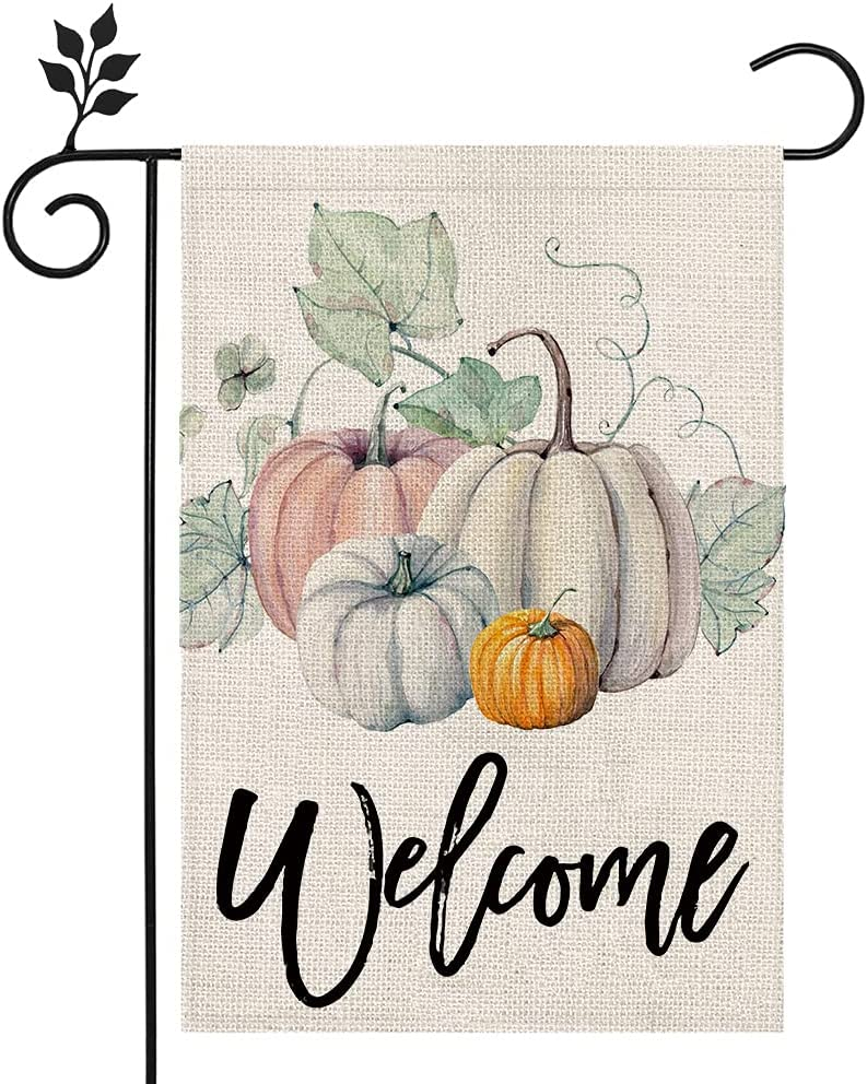 CROWNED BEAUTY Fall Pumpkin Welcome Garden Flag 12×18 Inch Double Sided Vertical Rustic Farmhouse Yard Seasonal Holiday Outdoor Decor CF219-12