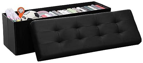 Ornavo Home Foldable Tufted Velvet Large Storage Ottoman Bench Foot Rest Stool Seat – 15 x 45 x 15 Black Velvet