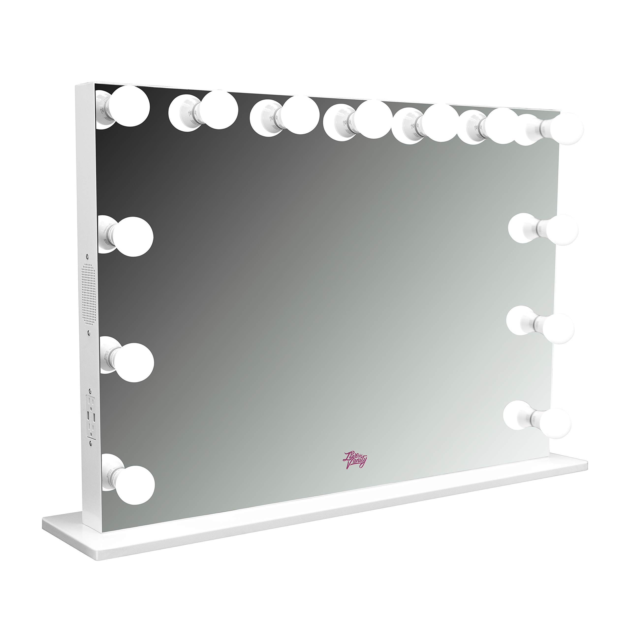 LFV Selena XL Vanity Mirror w/Bluetooth, Dimmable LED Bulbs, 2 120v Outlets and 2 USB Ports