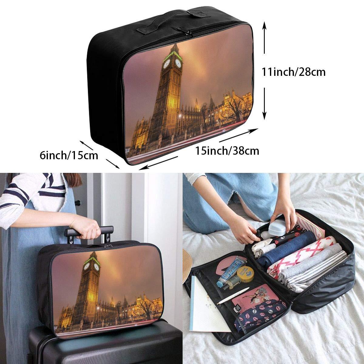 Travel Luggage Duffle Bag Lightweight Portable Handbag Big Ben Pattern Large Capacity Waterproof Foldable Storage Tote