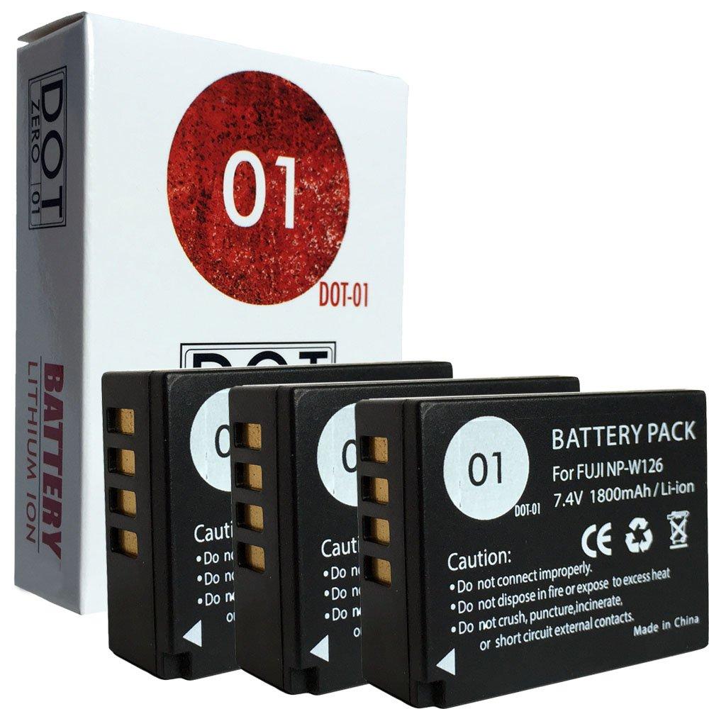 DOT-01 3X Brand Fujifilm X-A5 Batteries for Fujifilm X-A5 Mirrorless and Fujifilm X-A5 Battery Bundle for Fujifilm NPW126 NP-W126