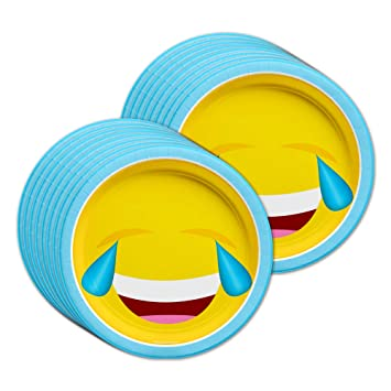 Celebrations & Occasions 8 Emoji Expression Face 9 Lunch Paper Plates Dinner Birthday Party Tableware EY