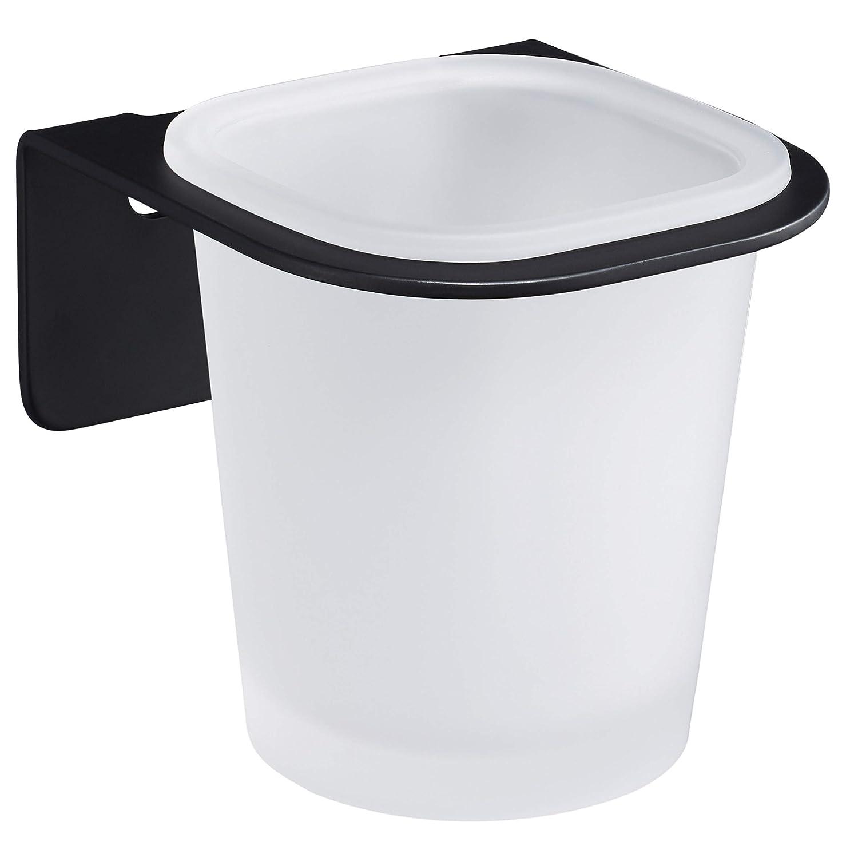 WEISSENSTEIN Vaso de cepillos de Dientes de Pared | Portacepillo de Dientes | Vaso de baño | Soporte Adhesivo de Acero Inoxidable Negro: Amazon.es: Hogar