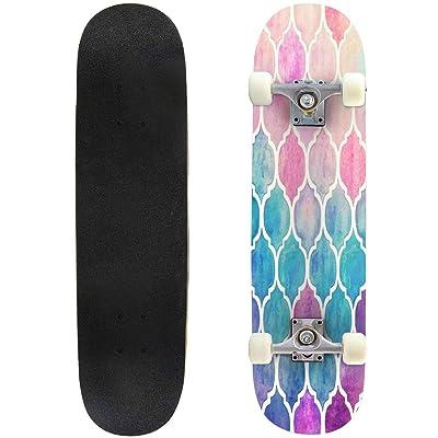 "Cuskip Mondrian Minimalist De Stijl Modern Art fatfatin Skateboard Complete Longboard 8 Layers Maple Decks Double Kick Concave Skate Board, Standard Tricks Skateboards Outdoors, 31""x8"" : Sports & Outdoors"