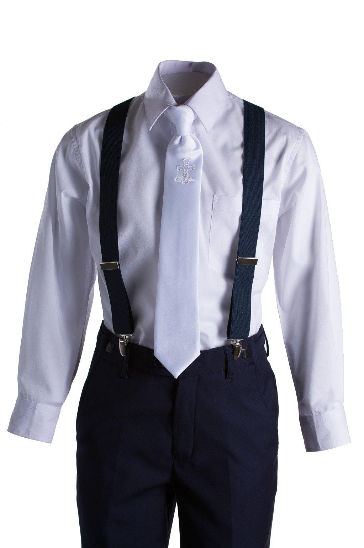 Boys Slim Fit Navy Suit, White Communion Cross Tie, Suspenders & Handkerchief (10 Boys) by Tuxgear (Image #3)