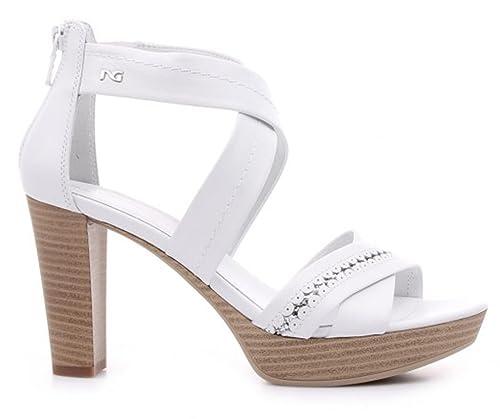 Sandali NeroGiardini P805610D 707 5610 scarpe donna in pelle bianca