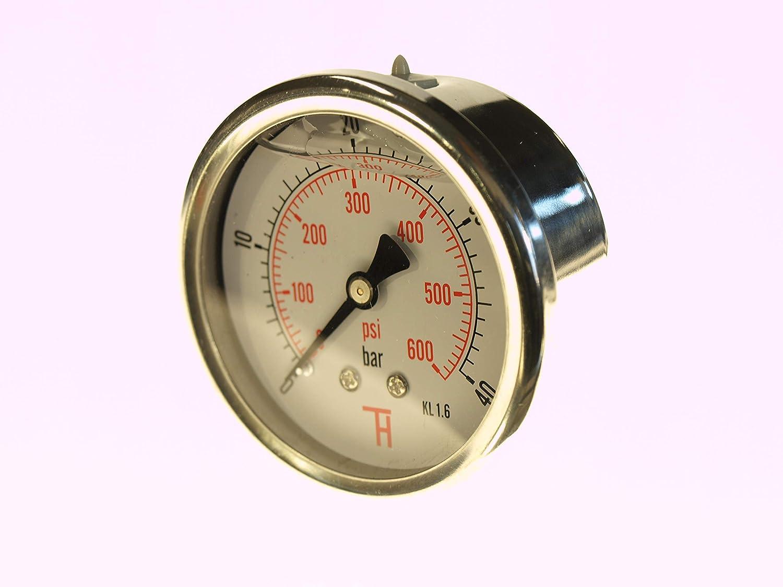 THERMIS Manom/ètre 358G 1//4 connexion /à larri/ère 63 mm 0-100 bar r/ésistant aux chocs