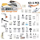 42 pcs Presser Feet Set with Manual & Case & Adapter SIMPZIA Sewing Machine Foot Kit