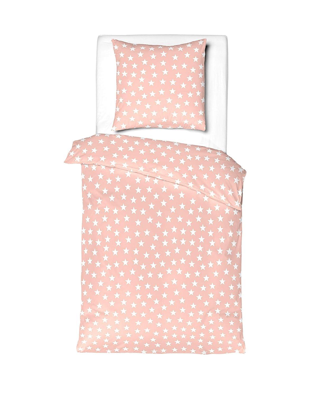 Aminata Kids BIBER Bettwäsche 100x135 cm Sterne rosa weiss Baumwolle Mädchen Teenager Pastell rosa rose KINDERBETTGROESSE