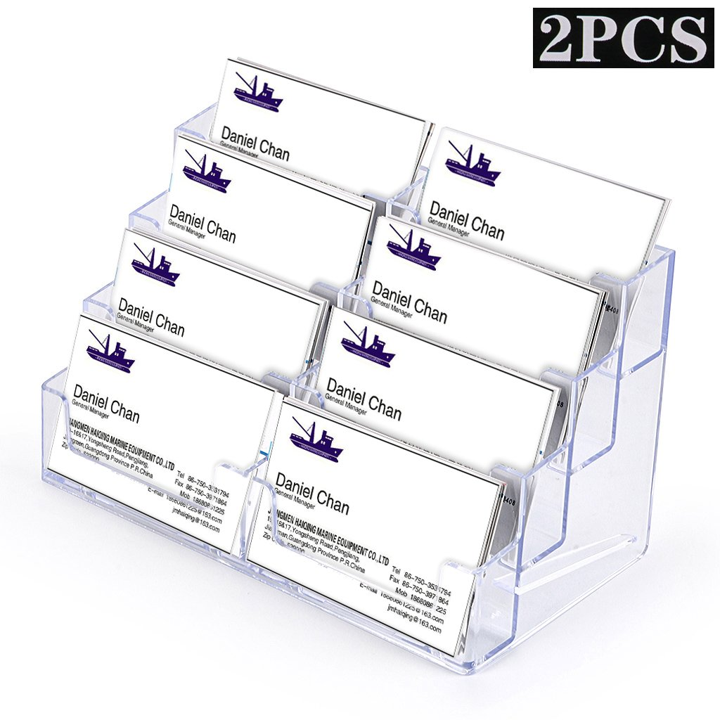 Hipiwe 8 Pockets Acrylic Business Card Holder Stand Clear Desktop Countertop Acrylic Index Card Filling Display