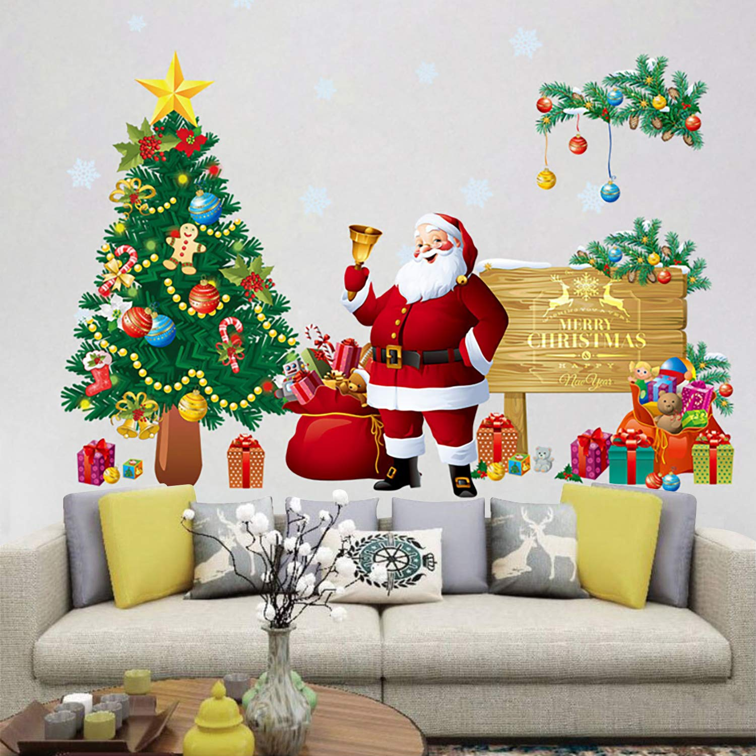 Amazon Com Christams Wall Sticker Diy Santa Claus With Christmas Tree Wall Decals Removable Snowflake Wall Stickers Murals For Home Kid S Living Room Bedroom Shop Window Decorations Baby,6 Bedroom Single Story Simple 5 Bedroom House Plans