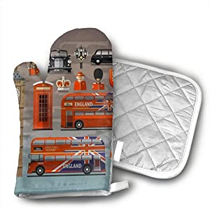 England London UK Set of Colored Icons Oven Mitts and Potholders Heat Resistant Set of 2 Kitchen Set Non-Slip Grip Oven Gloves BBQ Cooking Baking Grilling