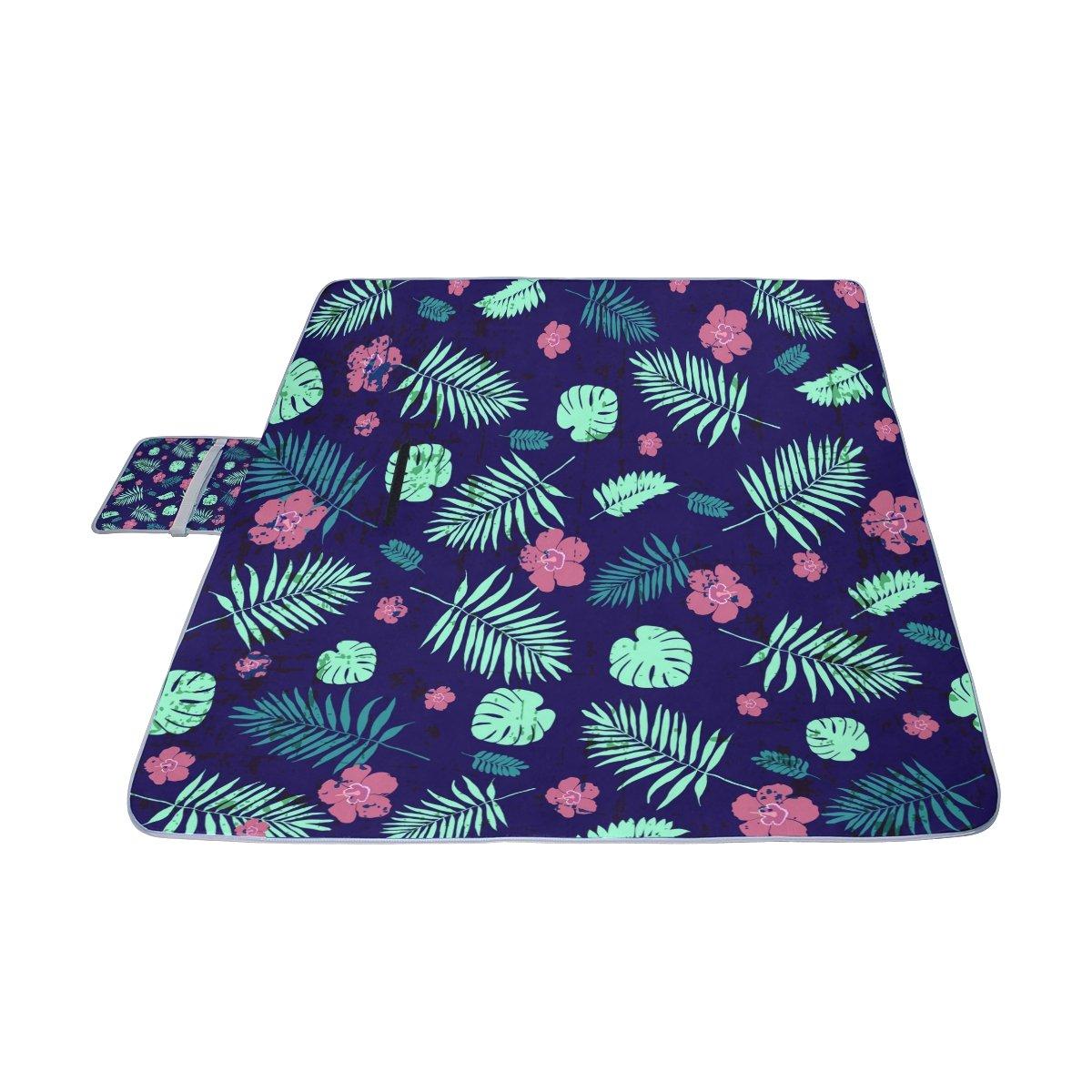 COOSUN Manta de picnic con patrón de hojas de palmera tropical, práctica alfombra resistente al moho y resistente al agua para picnics, playas, senderismo, ...